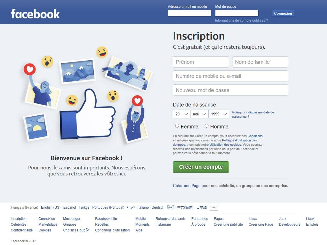 creer un compte personnel facebook