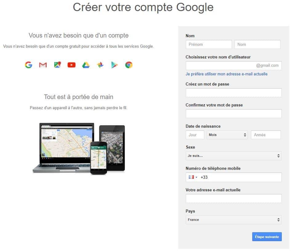 completer formulaire de creation de compte google