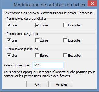 Modifier droit d'accès au fichier