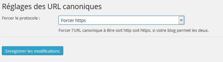 Forcer réglages permaliens HTTPS