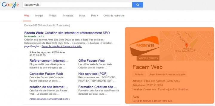 Google Business dans les SERP