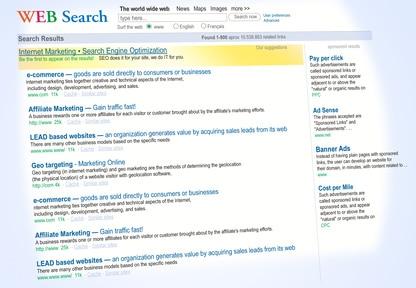 Résultats de recherche moteur de recherche