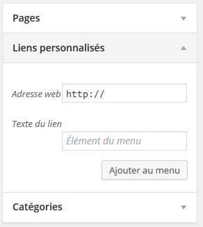 Section liens personnalisés dans WordPress