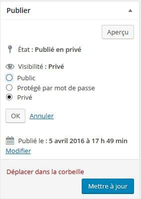 creer un petit article prive wp