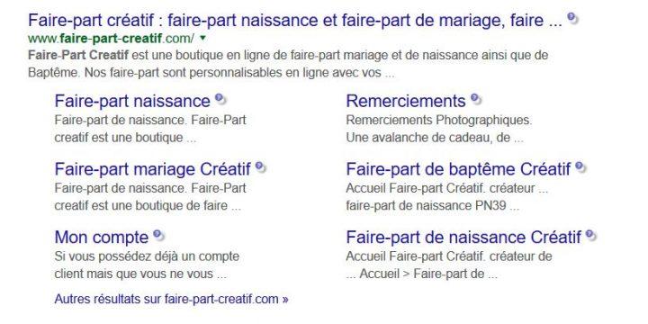 sitelinks en referencement sur google