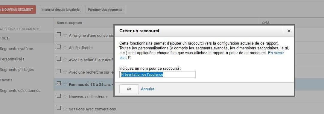 creation raccourci tableau de bord google analytics