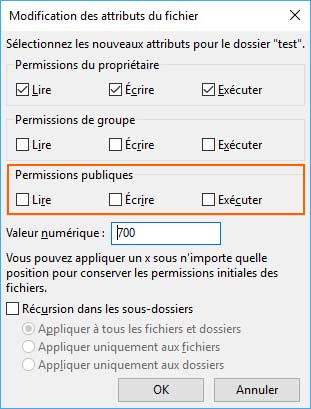 configuration droits dossier htaccess
