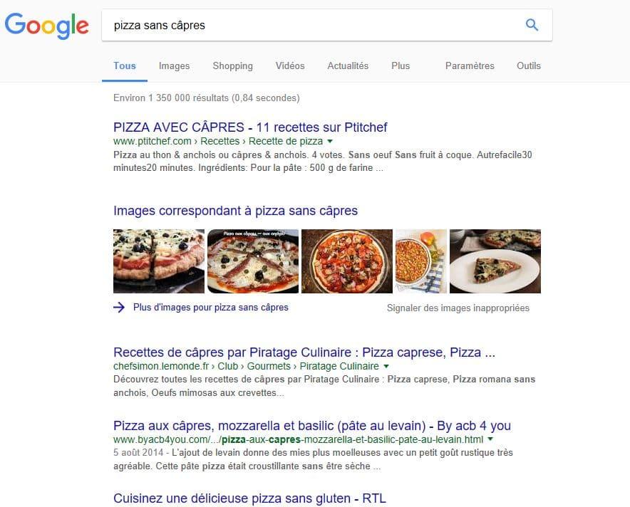 exemple image dans google avec pizza sans capres
