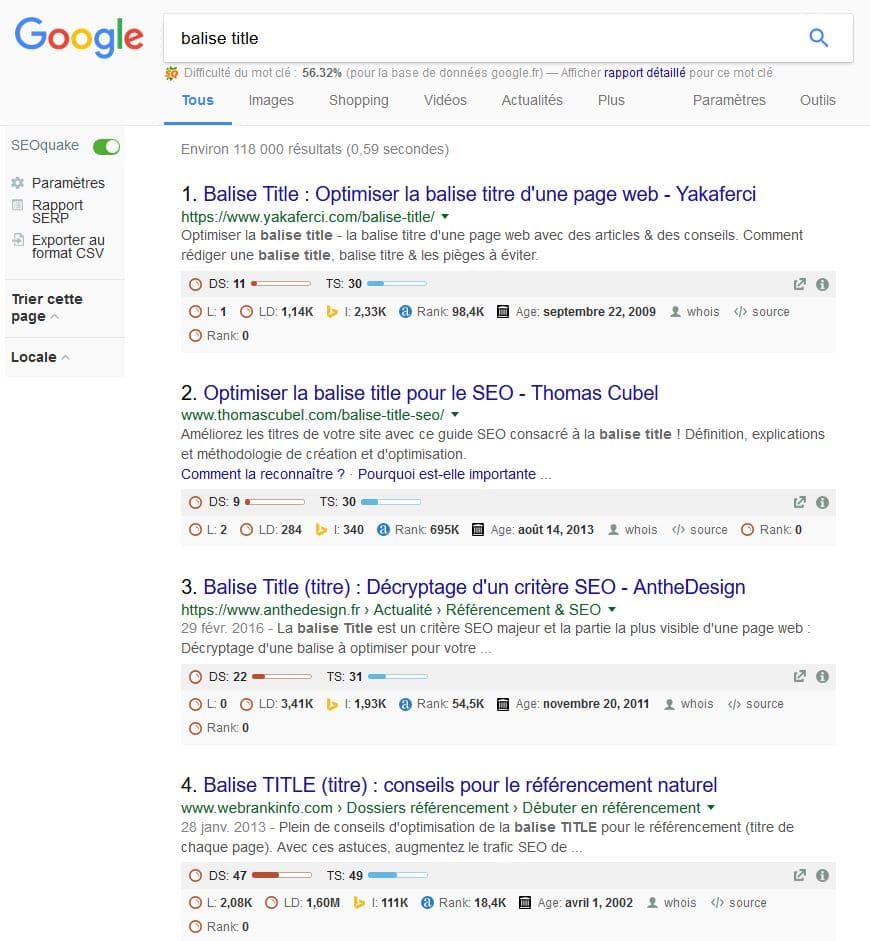 affichage seo quake google