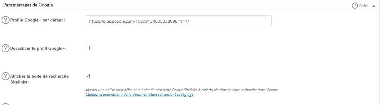 parametrages pour google