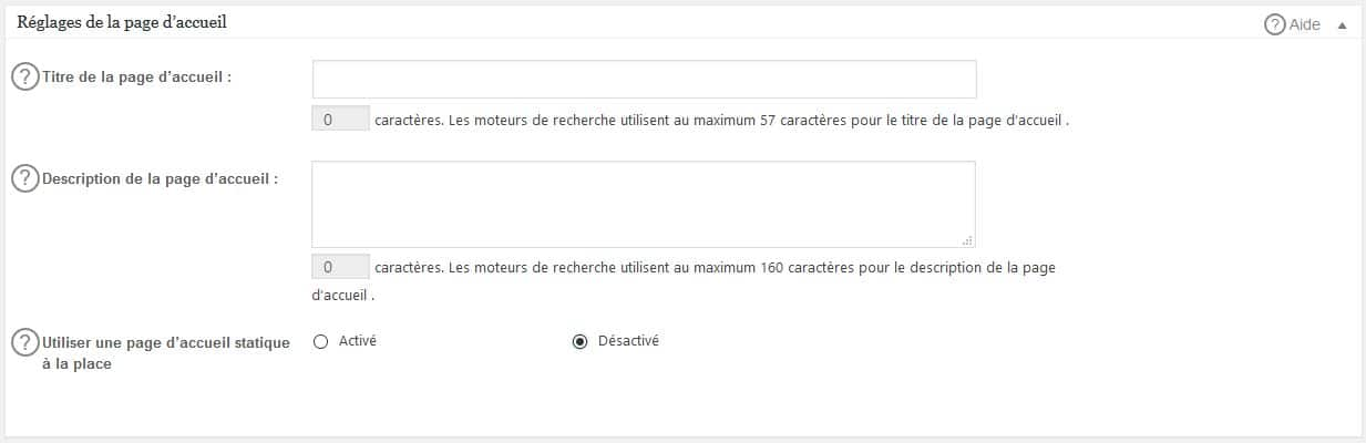 réglages titre et description accueil all in one seo