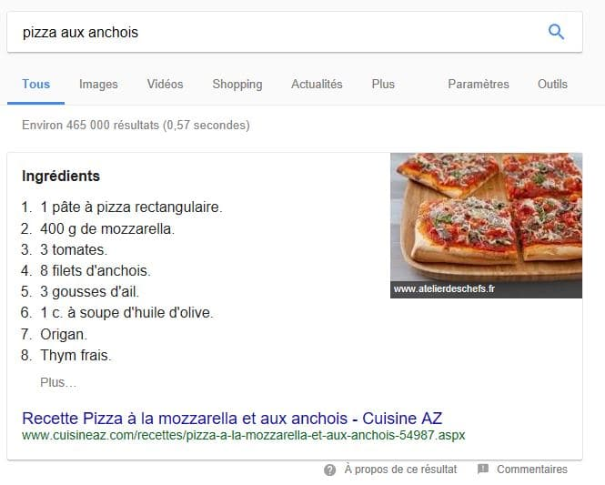 featured snippet recette de cuisine