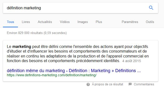 featured snippet sous forme de definition