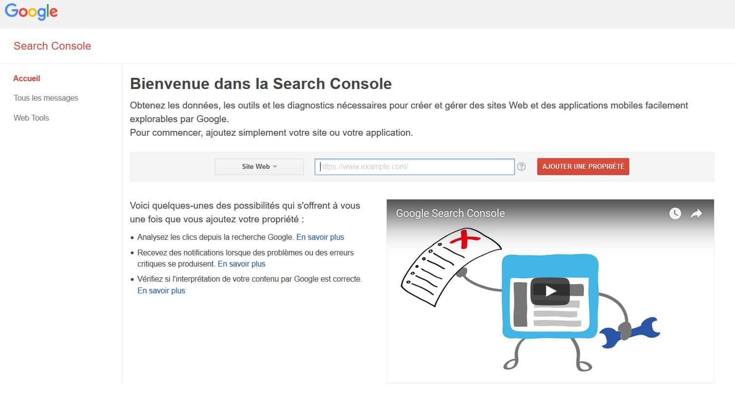 declaration propriete search console