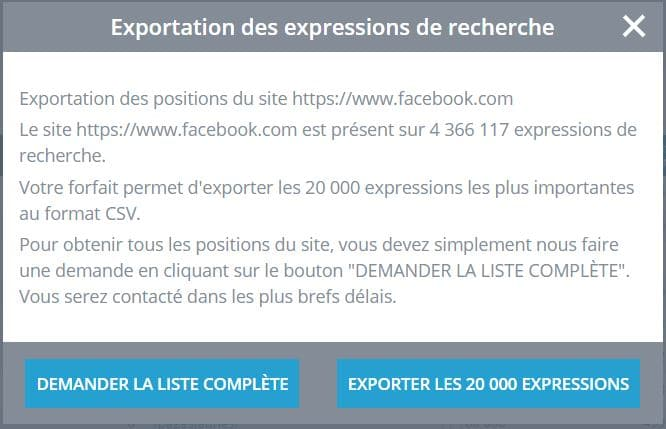 supplement export excel mots clés