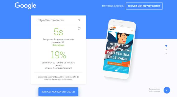 Test de rapidité sur mobile