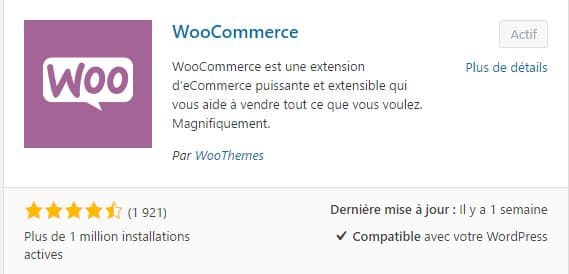 Installation du plugin WooCommerce pour WordPress