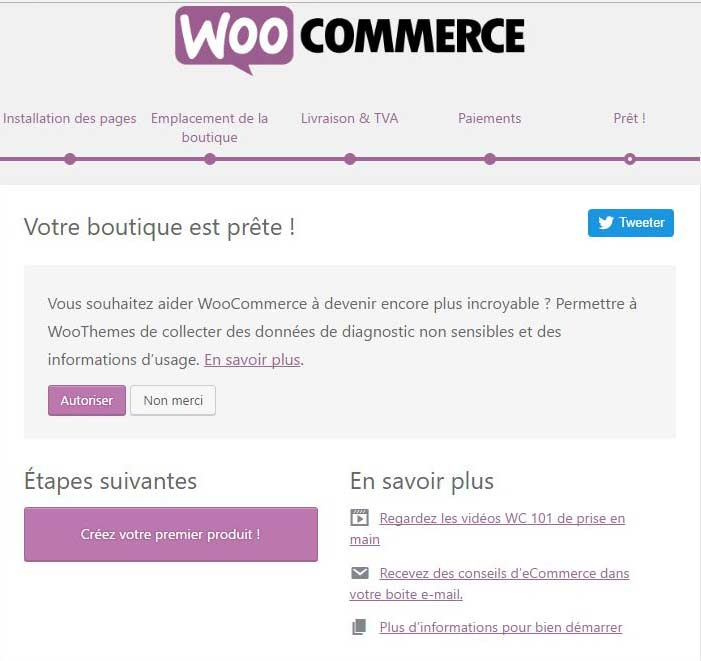 Fin de la configuration rapide de WooCommerce