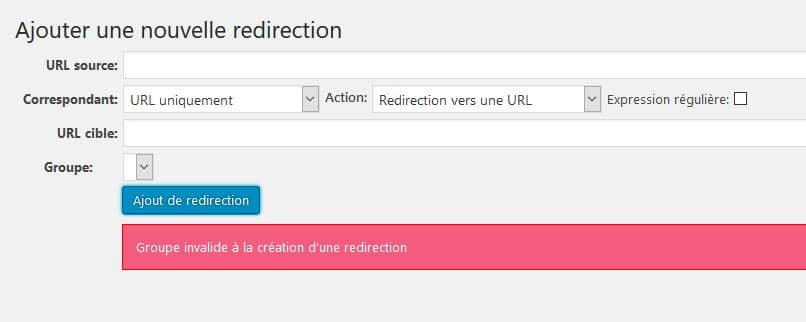 groupe invalide a la creation d une redirection