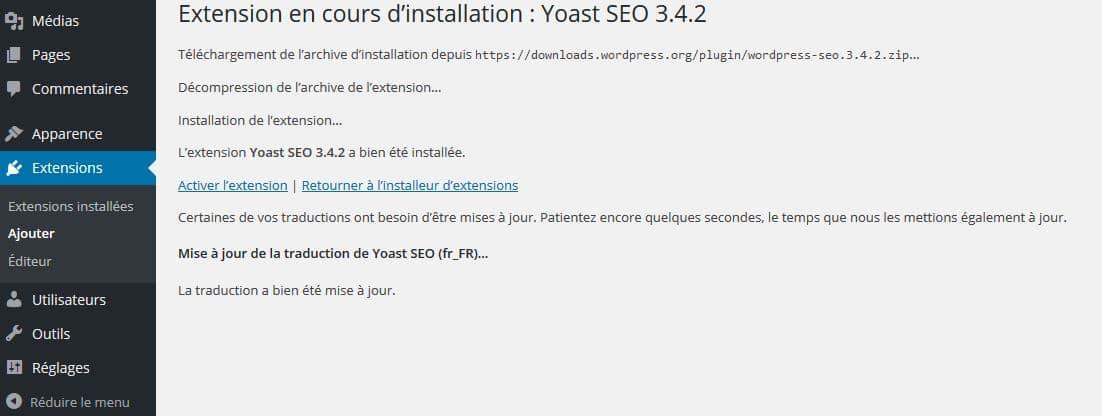 activation yoast seo wordpress