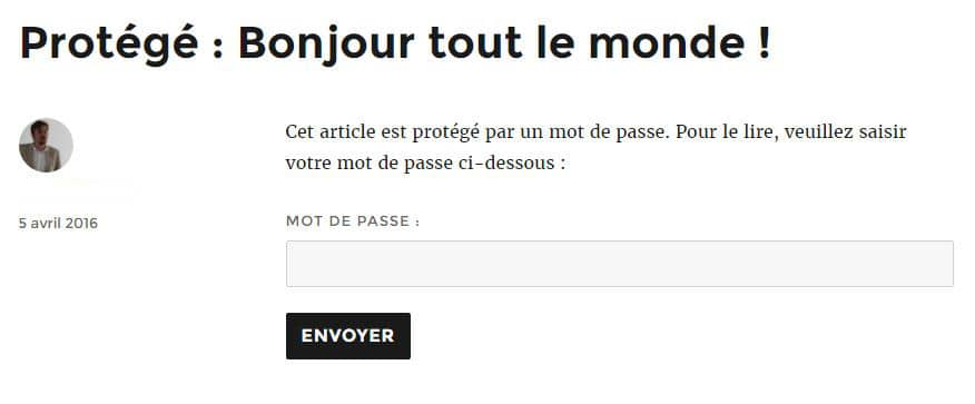exemple article protege par mot de passe