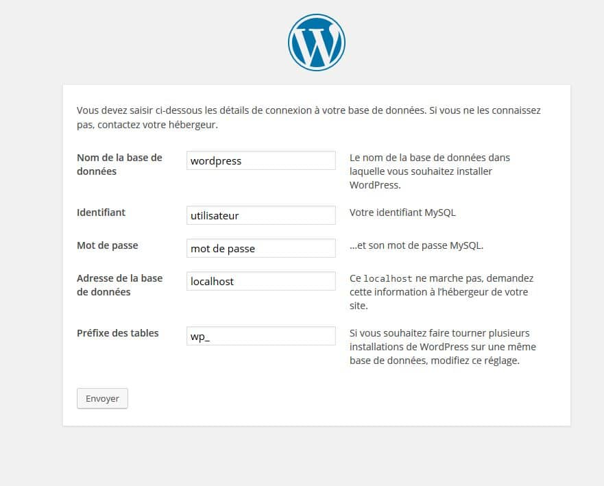 associer base de donnees wordpress