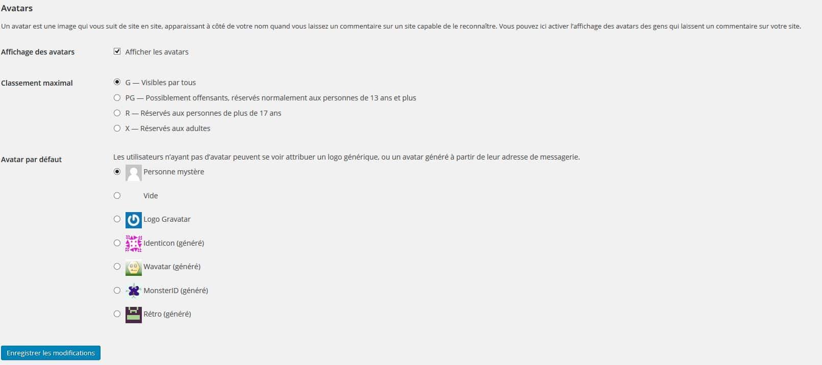 gestion des avatars wordpress