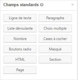 Champs Standard de gravity forms