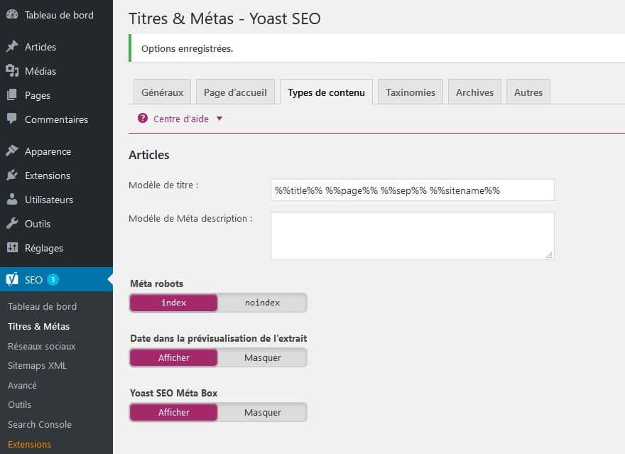 configuration metas articles wp avec yoast