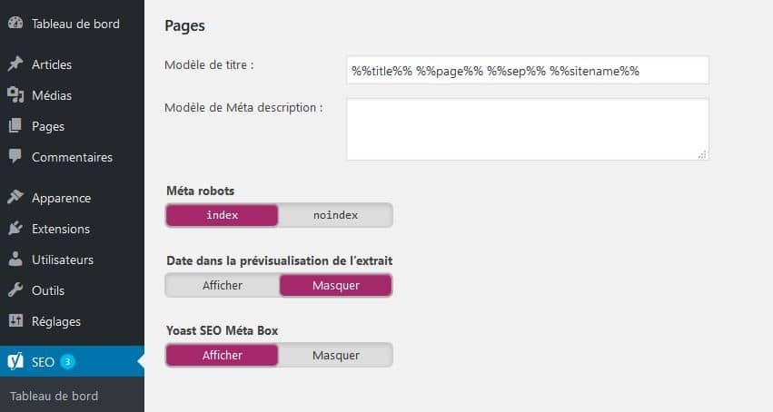 configuration titre des pages wordpress Yoast SEO