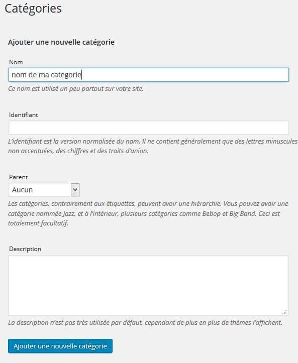 modifier une categorie dans wordpress