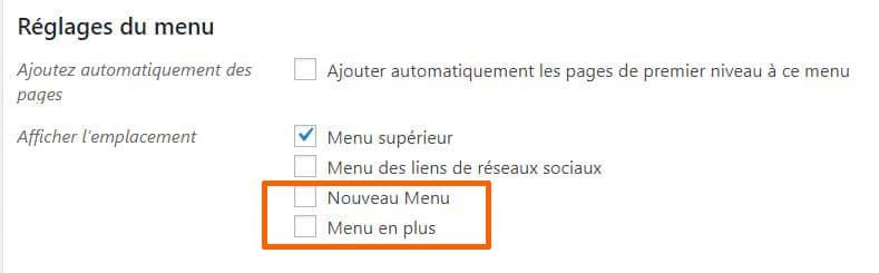 nouveau menu personnalisé