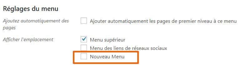 emplacement menu personnalisable