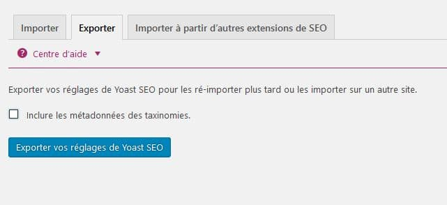 exporter importer metadonnees yoast