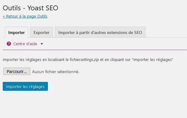 yelechargement import export yoast