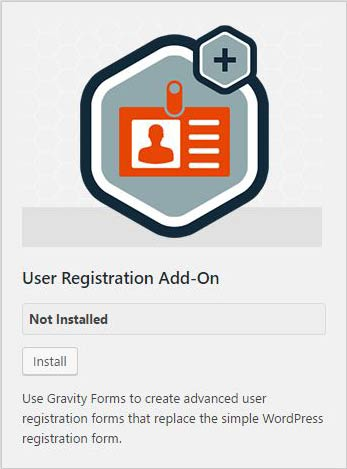 installer user regstration addons wordpress
