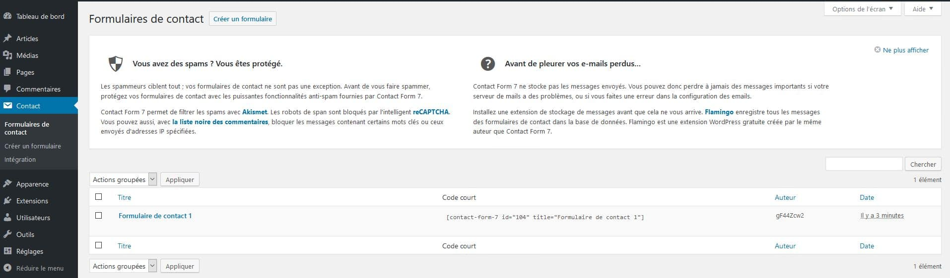 installation de contact form 7 pour wordpress