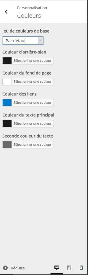 perseonnaliser les couleurs wordpress