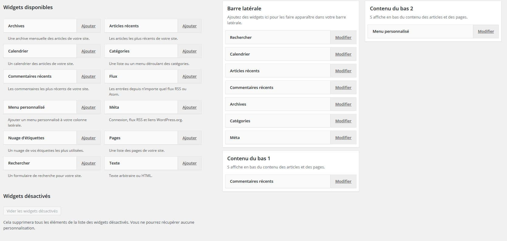 accessibilite des widgets wordpress
