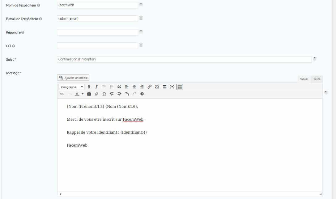 Exemple notification envoyé à l'utilisateur