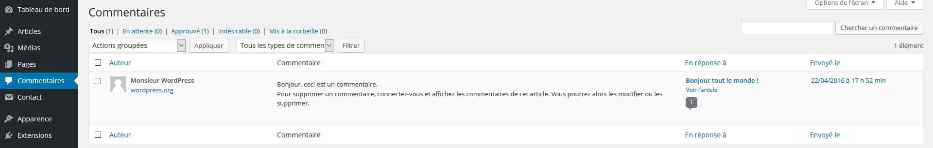 onglet commentaires wp