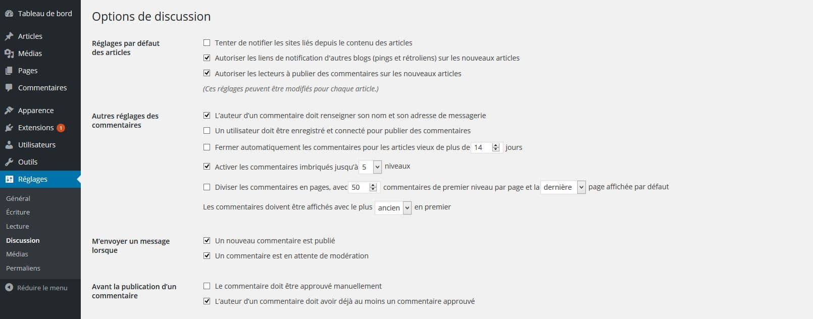 options de discussion wordpress