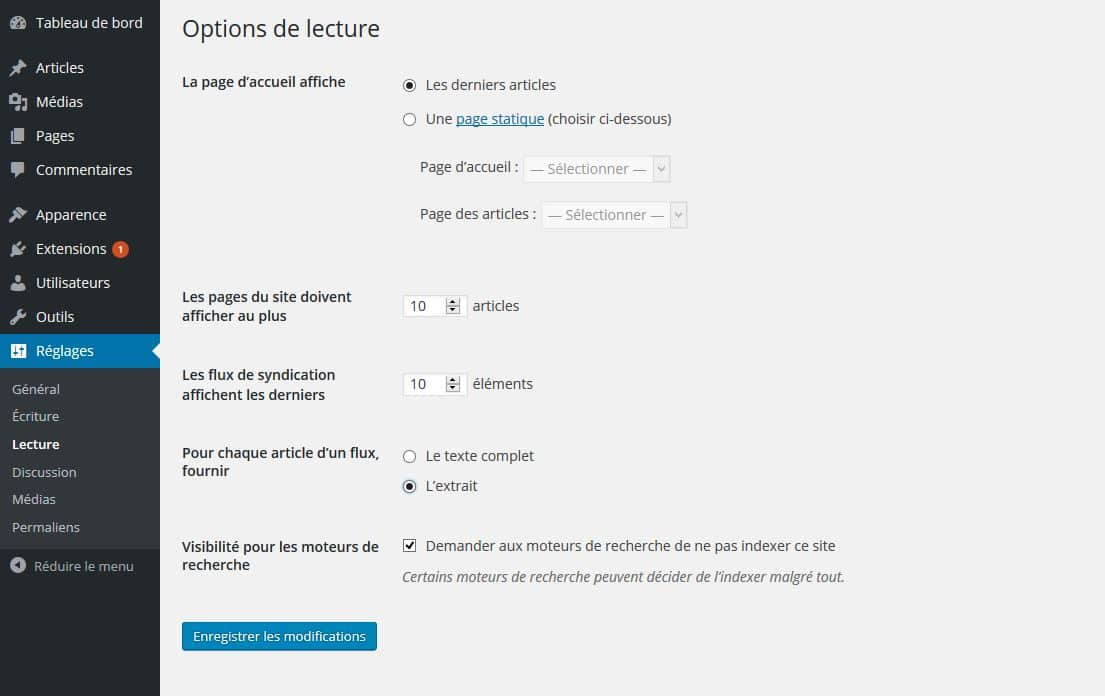 tableau options de lecture wordpress