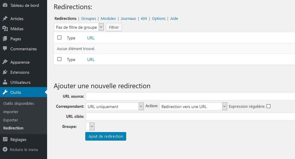 plugin wordpress redirection backoffice
