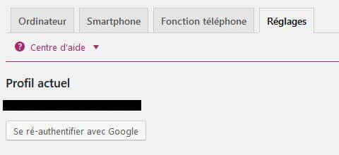 profil actuel de la search console