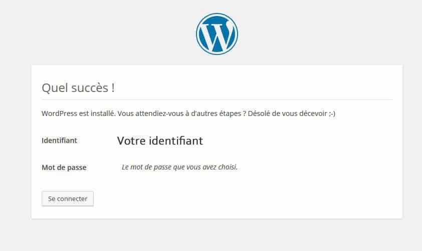 Message wordpress installé