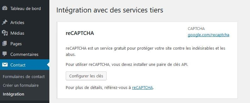 captcha formulaire wordpress