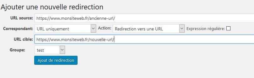 redirection 301 wordpress