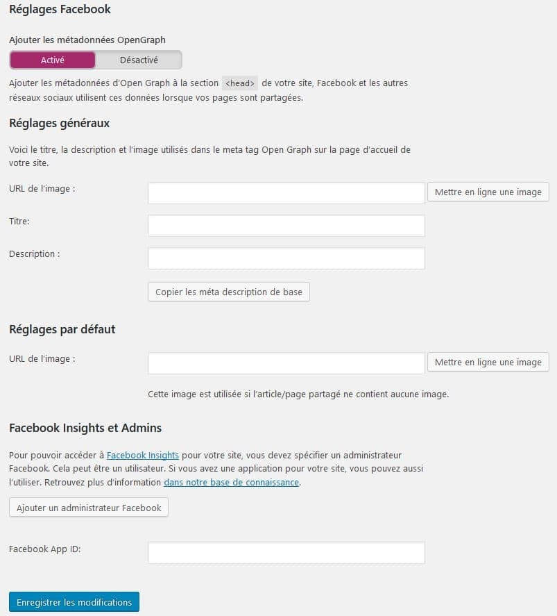 reglages facebook yoast pour wordpress