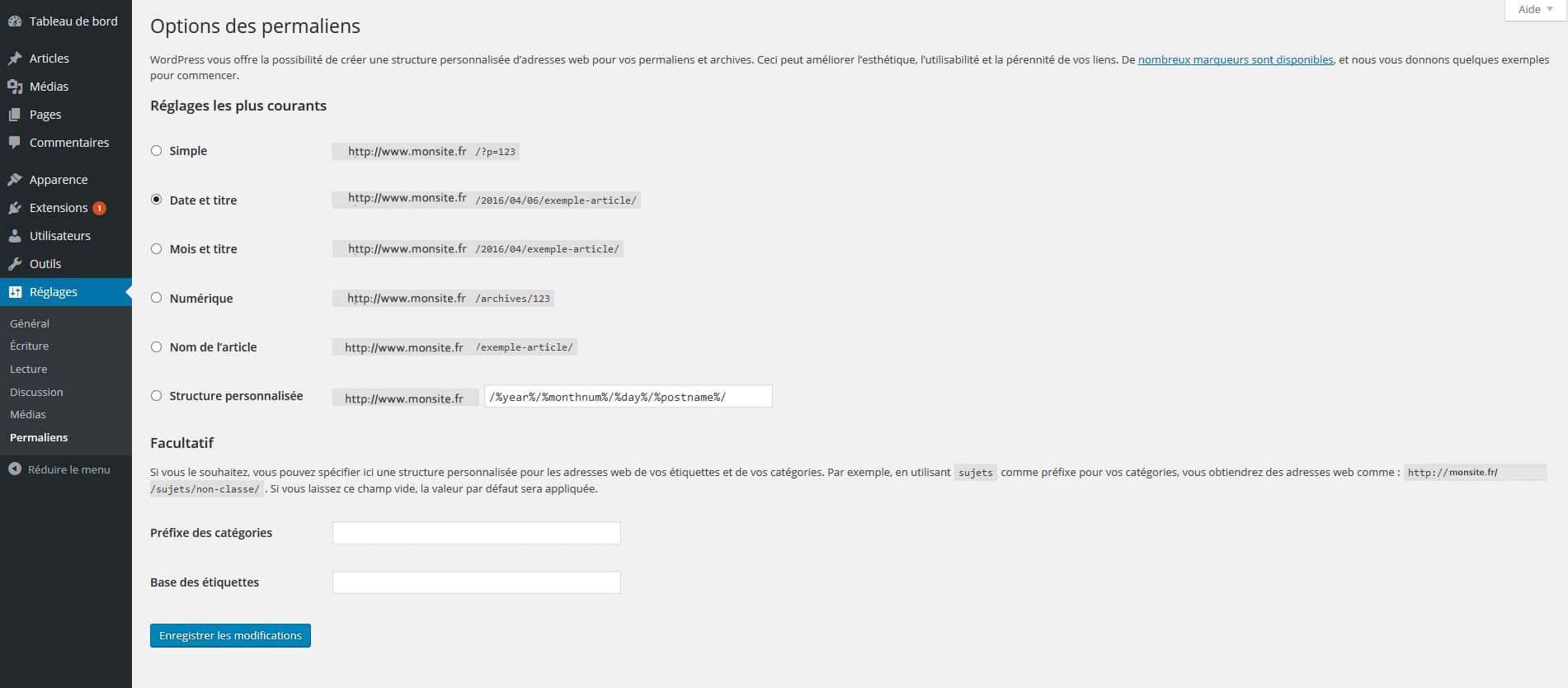 reglages permaliens urls de wordpress